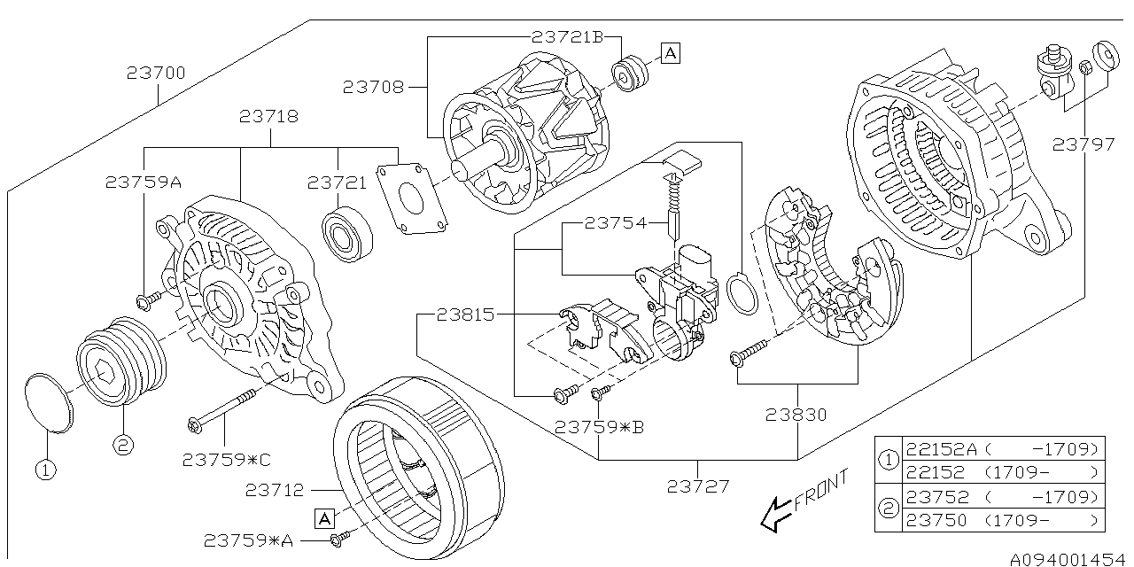 2018 Subaru Forester Alternator