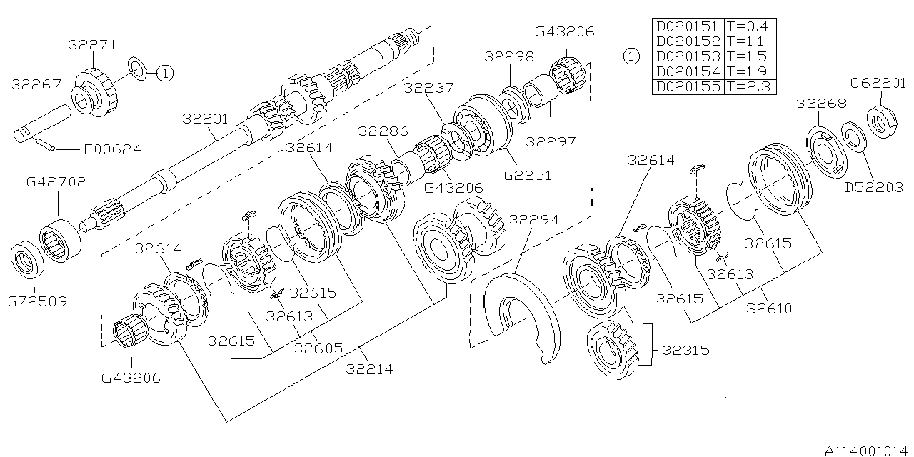 1993 Subaru Impreza Main Shaft