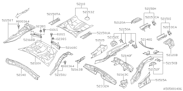 2014 Subaru XV Crosstrek FLOOR SIDE REAR 5D LH Diagram