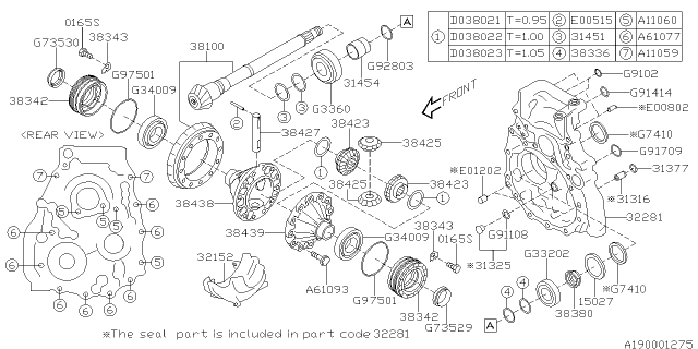 2015 Subaru XV Crosstrek PINION DIFFERENTIAL BEVEL Diagram