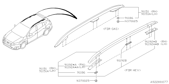 2021 Subaru Crosstrek Roof Rail Diagram