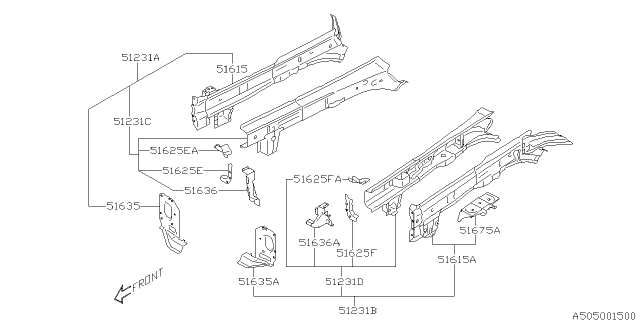 2019 Subaru Outback BRACKET COMPLETE BEAM IN Diagram