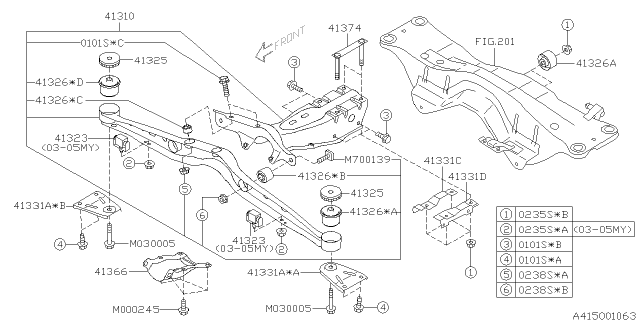 2006 Subaru Forester Differential Mounting Diagram