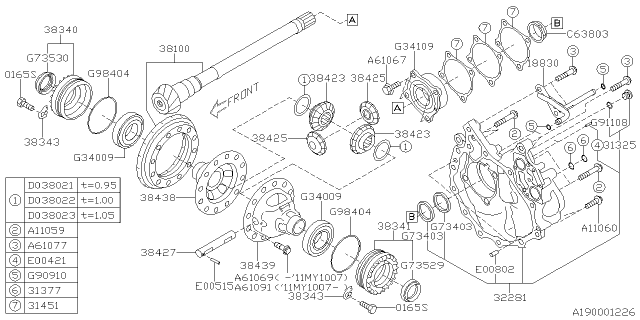 2011 Subaru Outback Differential - Transmission