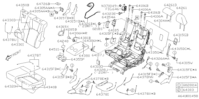 2021 Subaru Ascent LOCK BUSHING HEAD REST C Diagram