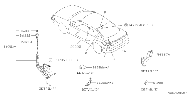 Audio Parts - Antenna - 1995 Subaru SVXSubaruPartsDeal.com - Genuine Subaru Parts
