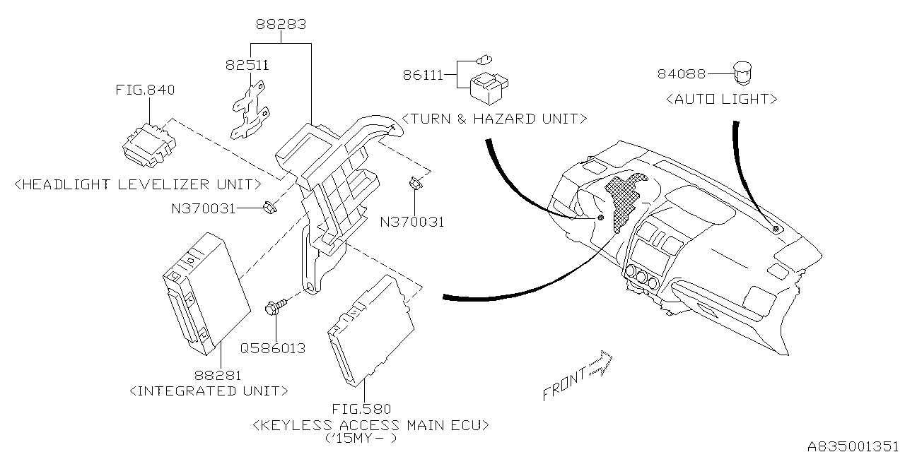 2015 Subaru XV Crosstrek Electrical Parts - on