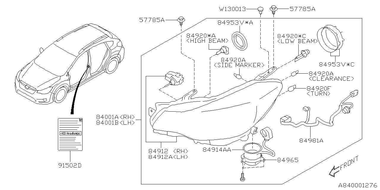 84001FJ540 - Genuine Subaru HEAD LAMP ASSEMBLY RH