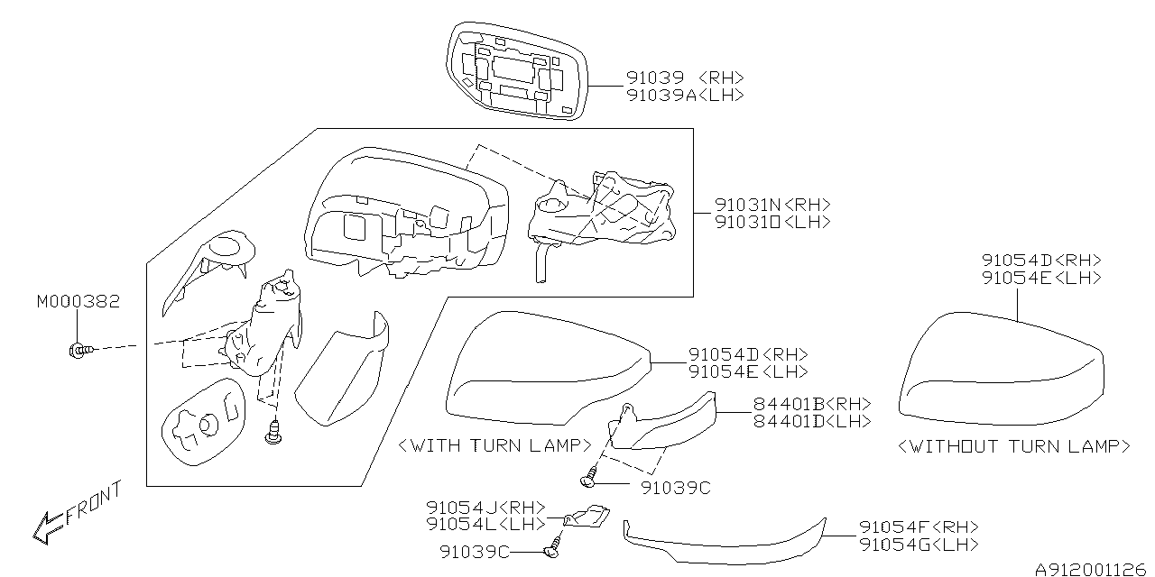91039va020 Genuine Subaru Mirror Repair Rh