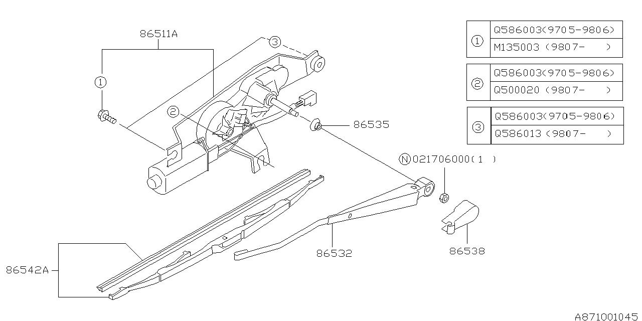 2001 Subaru Forester Wiper - Rear