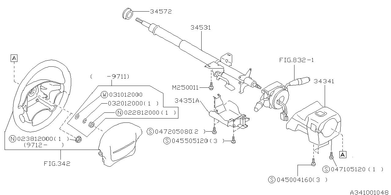 1999 subaru forester steering column