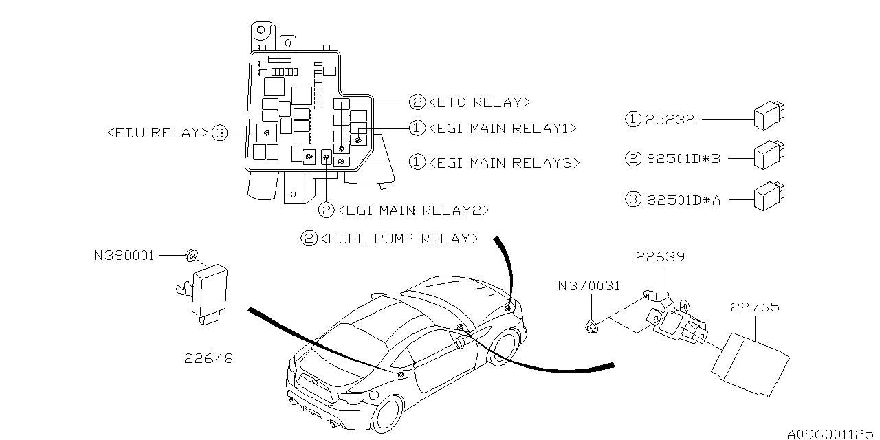 2017 subaru brz relay  u0026 sensor - engine