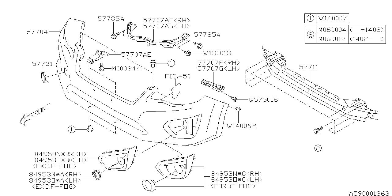 57704fj001 - genuine subaru bumper face front std subaru impreza parts diagram  subaru parts