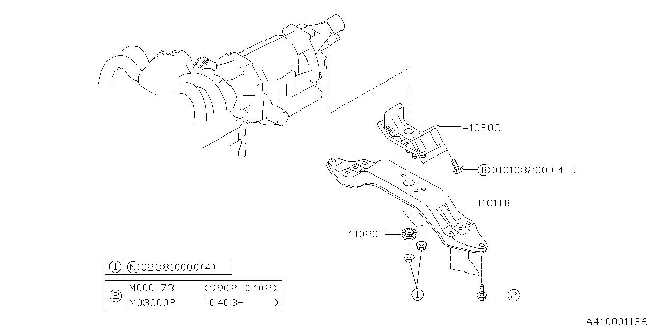 41011ae00a Genuine Subaru Cross Member Complete Rear