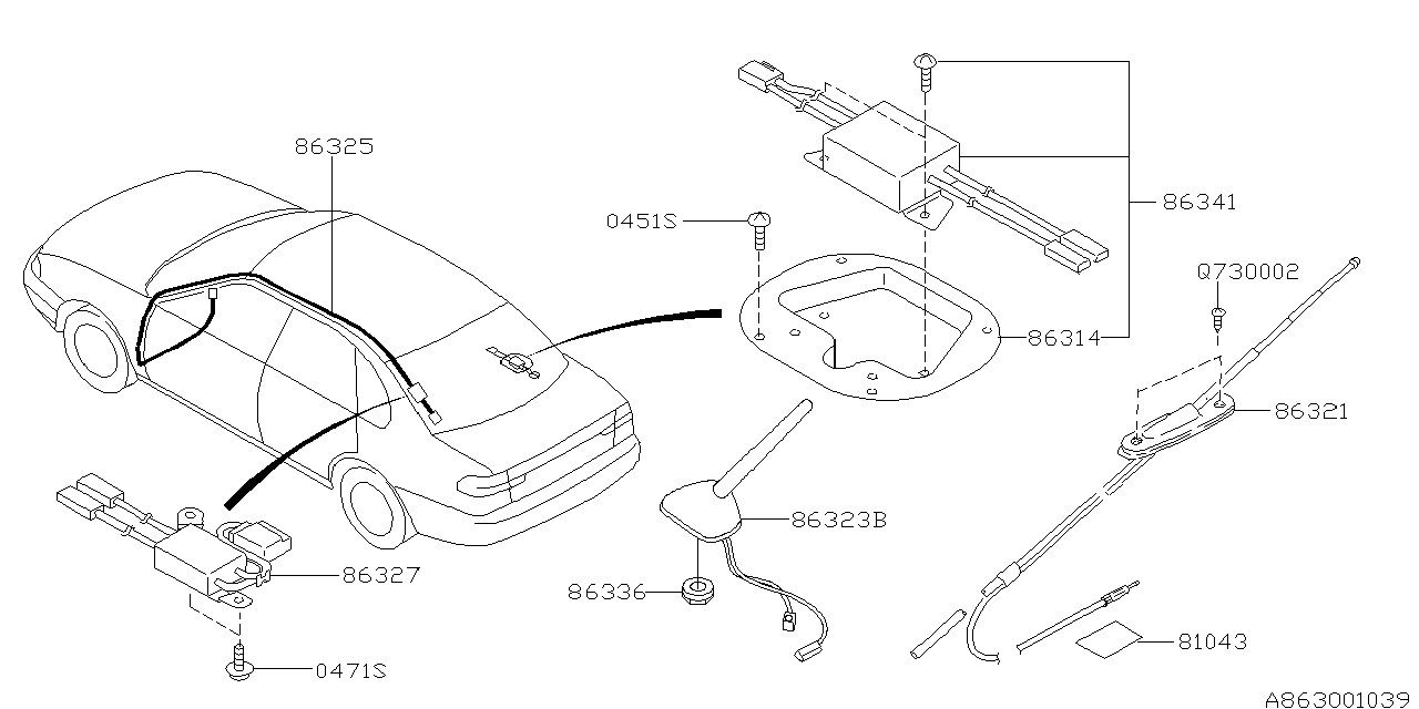 2003 Subaru Baja Audio Parts - Antenna