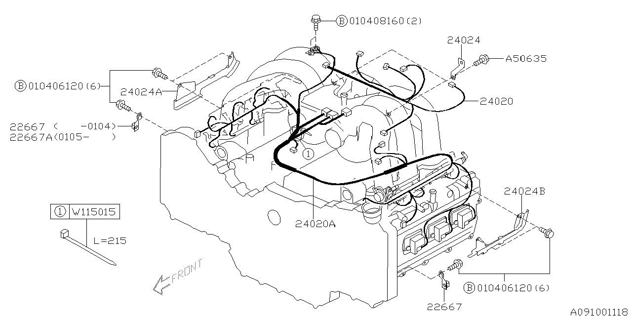 24020ac12a - genuine subaru harness engine  genuine subaru parts