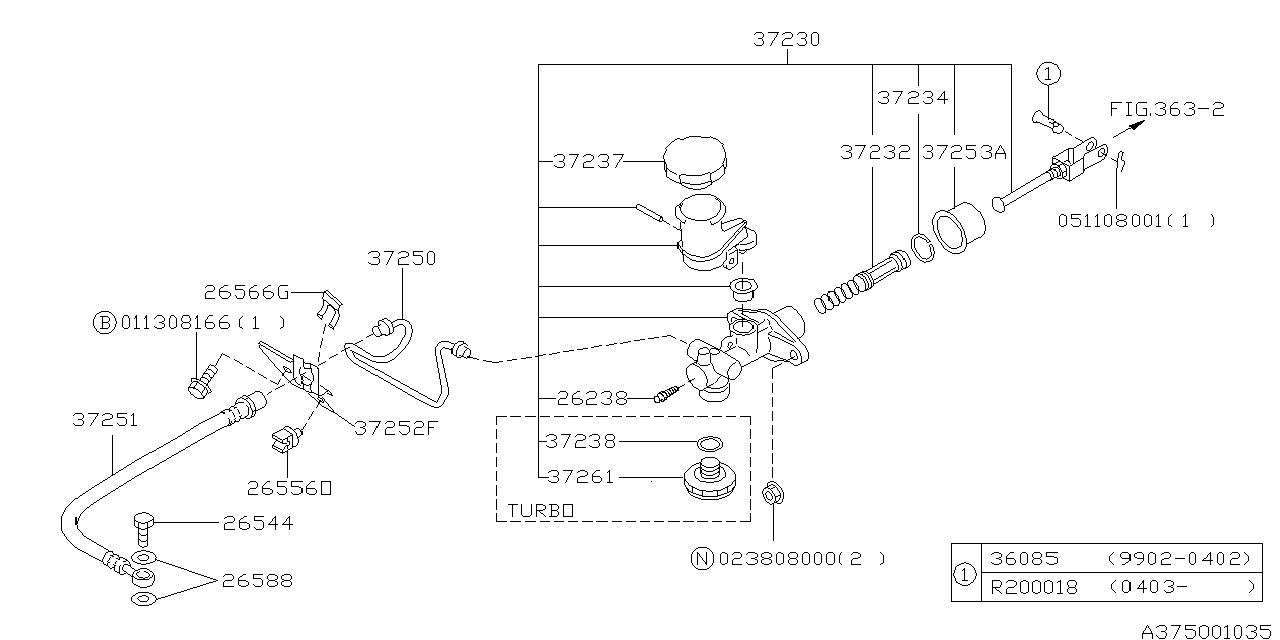 37230ae01b Genuine Subaru Clutch Master Cylinder