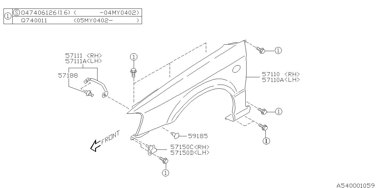 2002 Subaru Legacy Fender - Subaru Parts Deal