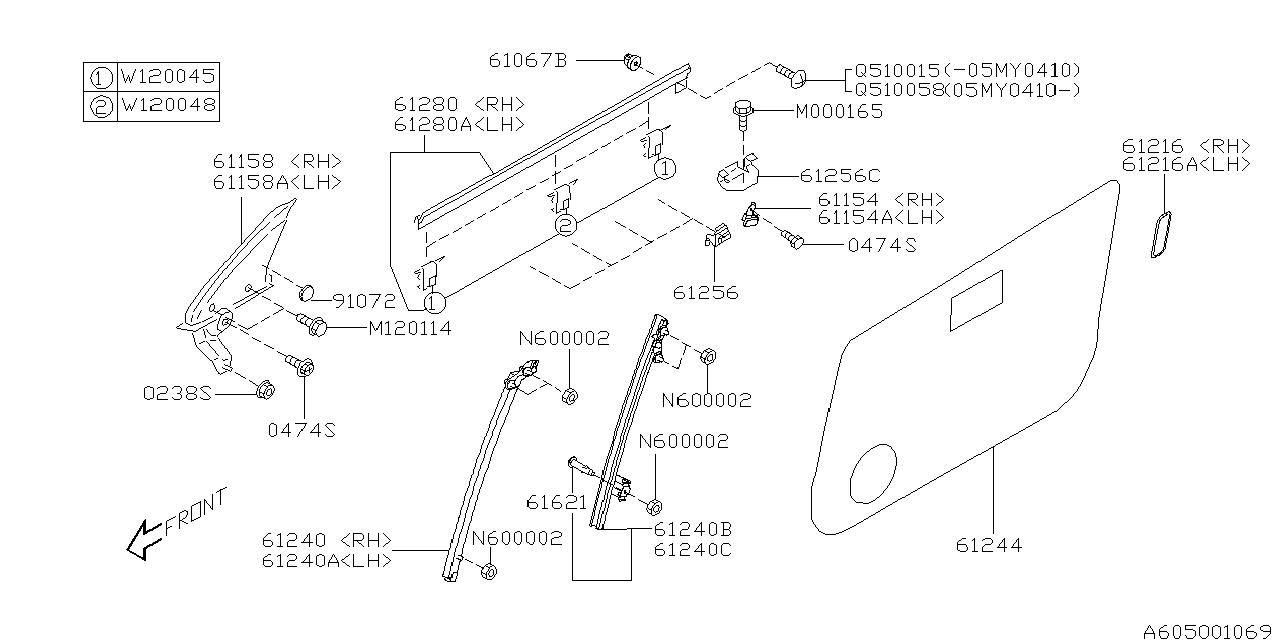 61158ag00b Genuine Subaru Gusset Assy Door Rh
