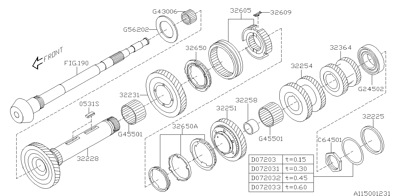 2008 subaru legacy drive pinion shaft