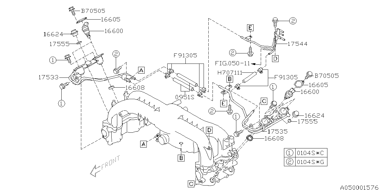 16600aa170 Genuine Subaru Injector Assy