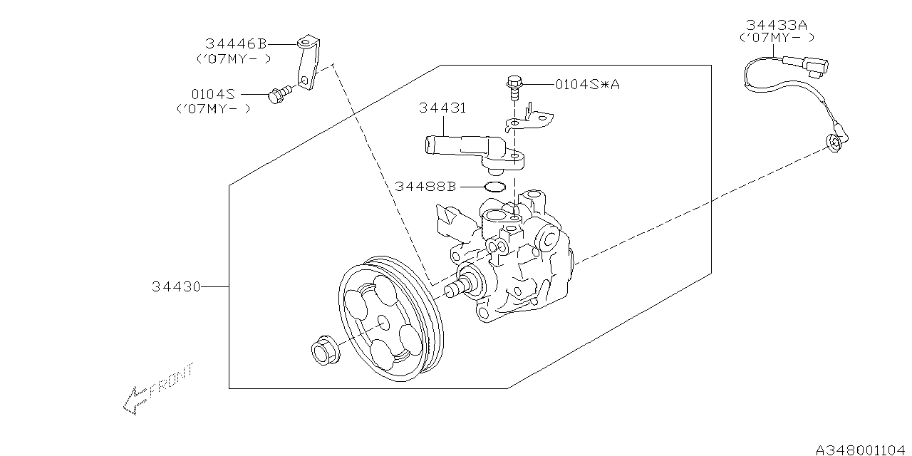 34430AG041  Genuine Subaru    POWER       STEERING       PUMP    ASSY