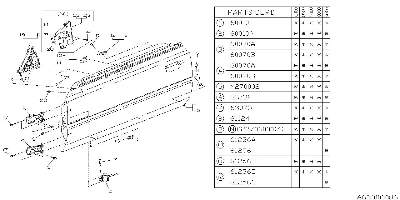 61110ga740 Genuine Subaru Door Panel Complete Front Lh