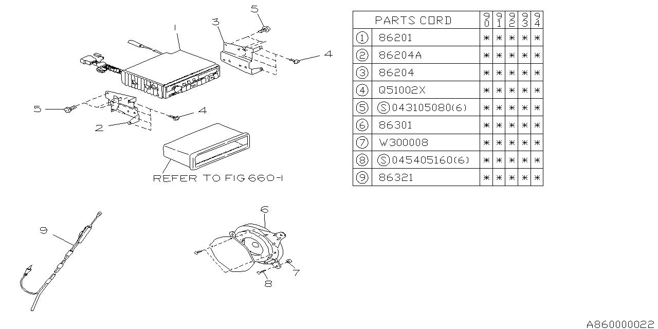 1994 subaru loyale audio parts - radio - subaru parts deal  genuine subaru parts