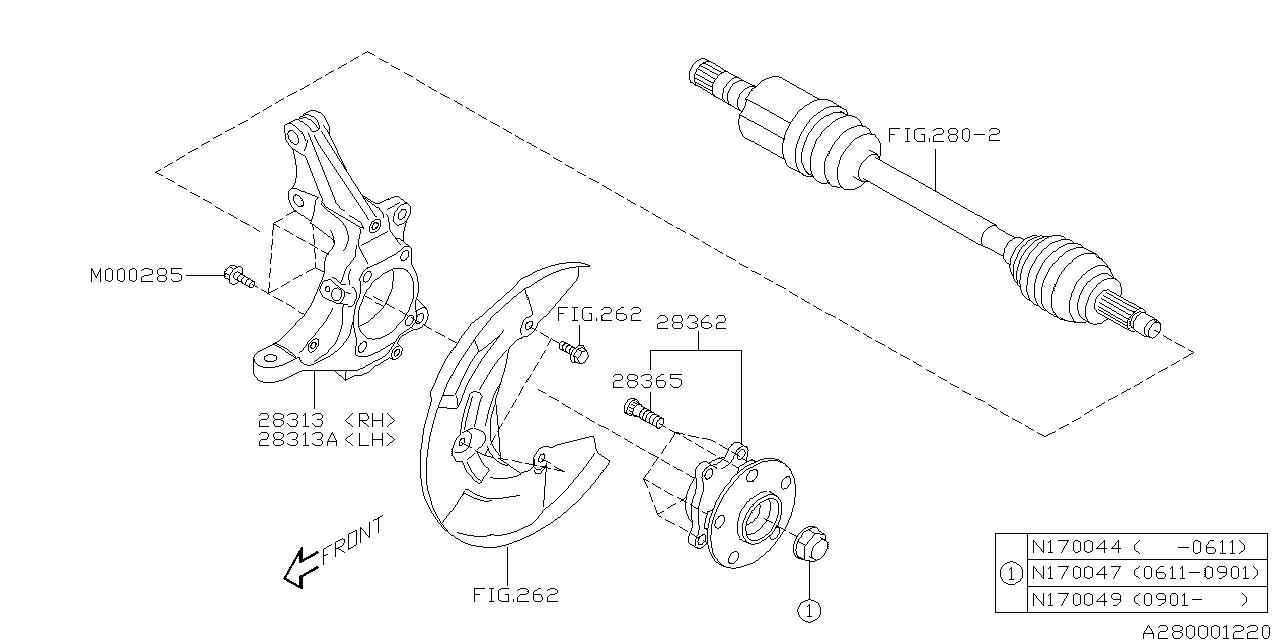 28373XA00B - Genuine Subaru HUB COMPLETE FRONT AXLE