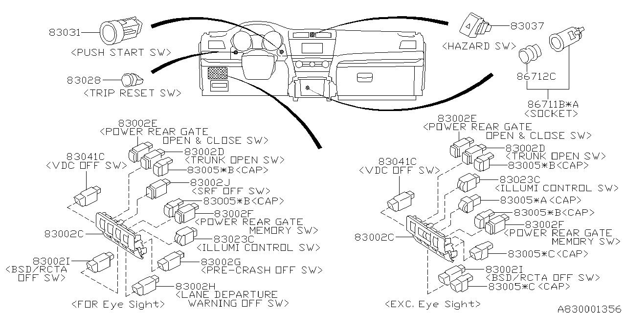 83031fj004 Genuine Subaru Switch Assy Start