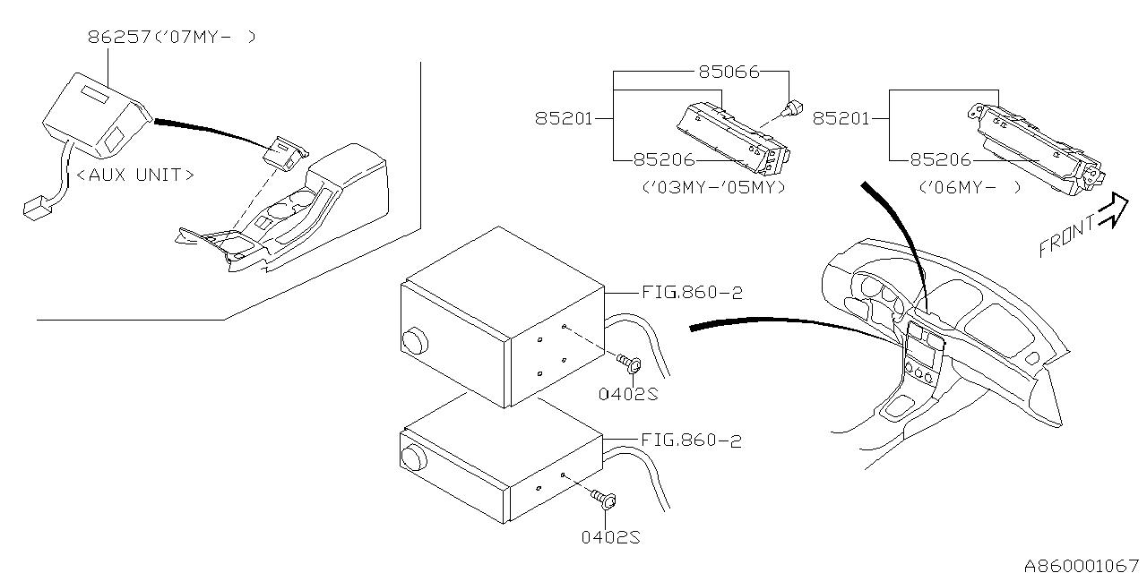 86257sa010 genuine subaru unit aux terminal c0. Black Bedroom Furniture Sets. Home Design Ideas