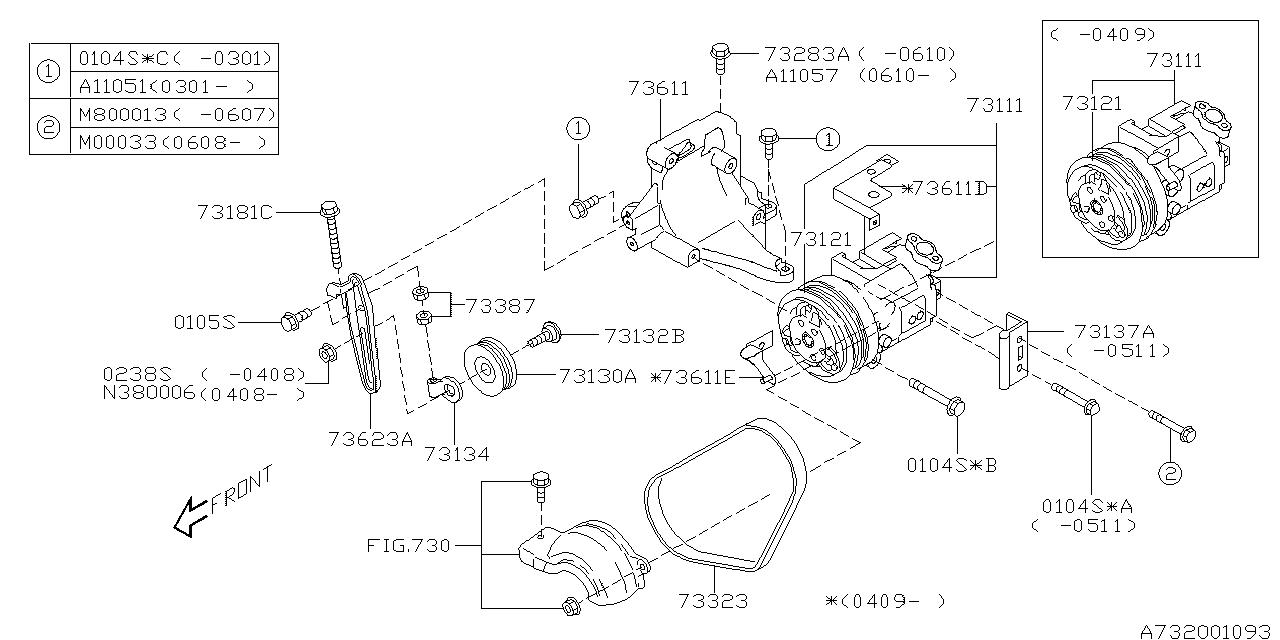 73111sa010 Genuine Subaru Compressor Assy