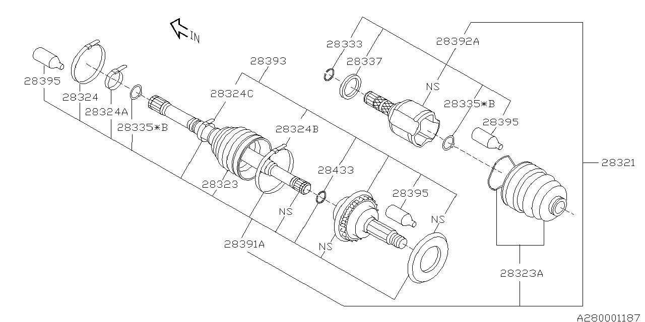28321sa030 Genuine Subaru Drive Shaft Assy Front