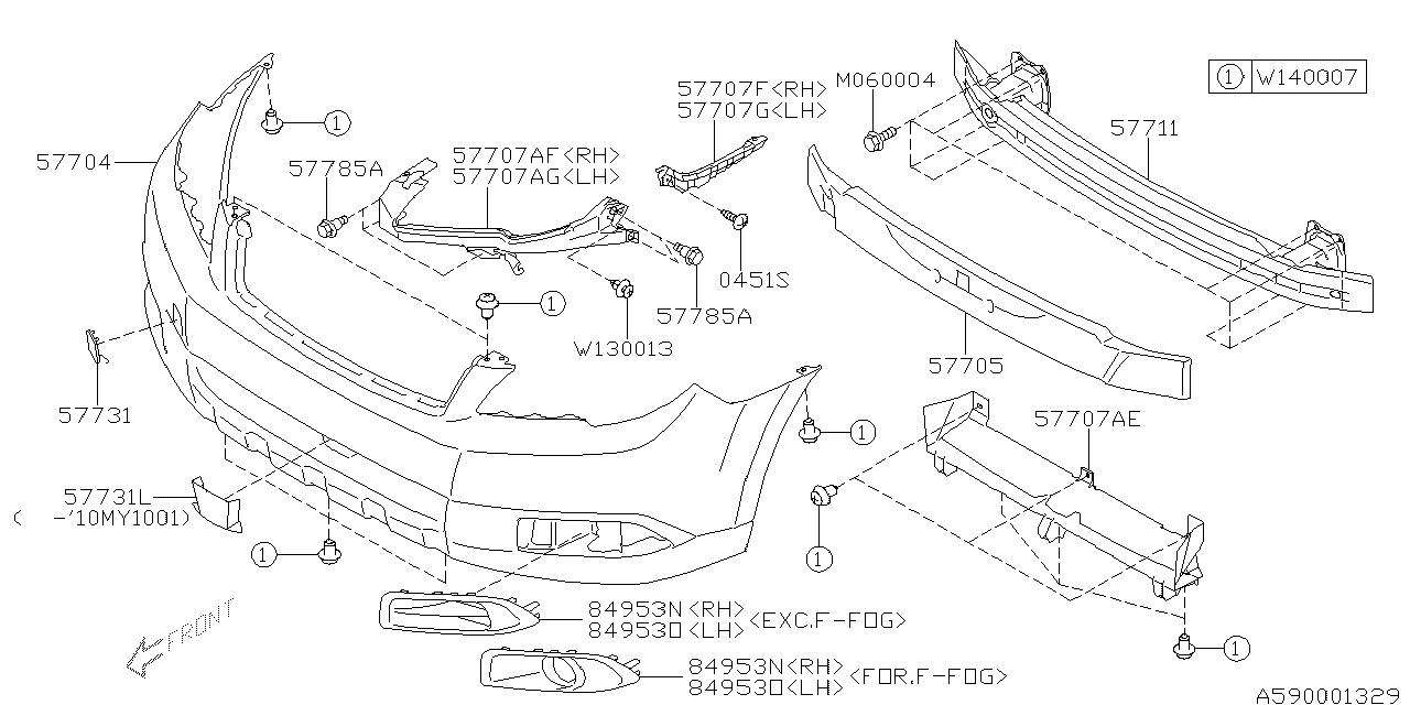 2011 subaru outback engine diagram 57704aj09a genuine subaru bumper face front obksia  genuine subaru bumper face front obksia