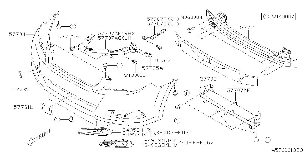 57731AJ22A  Genuine    Subaru    COVER FRONT BUMPER LEFT