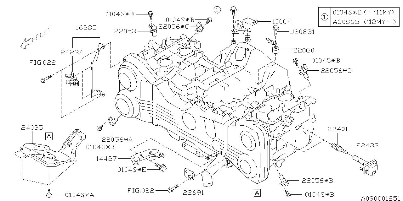 22056AA260 - Genuine Subaru SENSOR ASSY CAMSHAFT