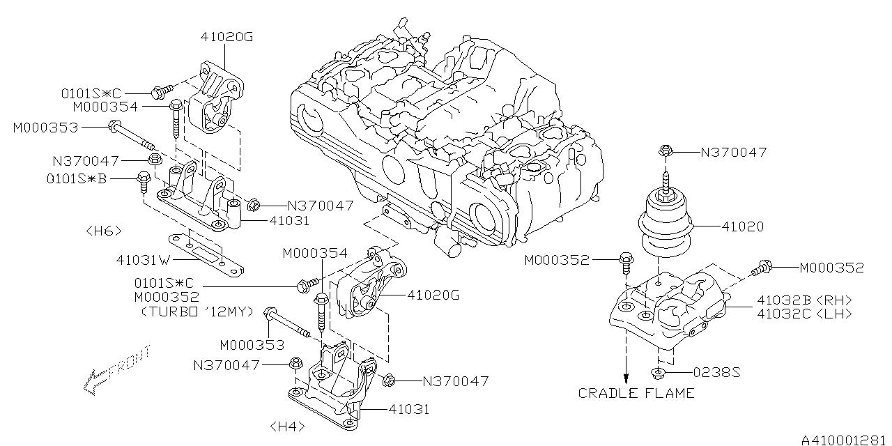 41032AJ000 - Genuine Subaru BRACKET FT MOUNTING H4