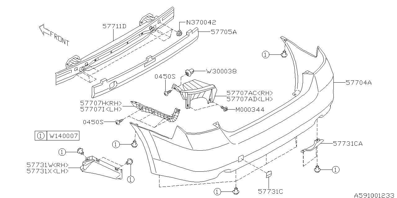 subaru legacy bumper diagram