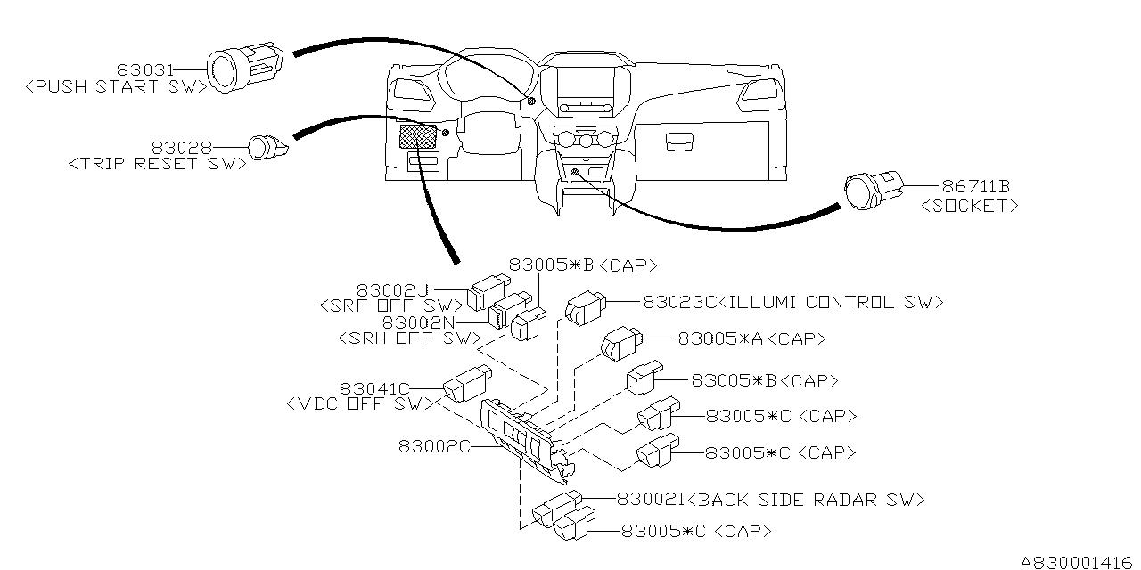 83002FL03A - Genuine Subaru SWITCH INPANE SRF on