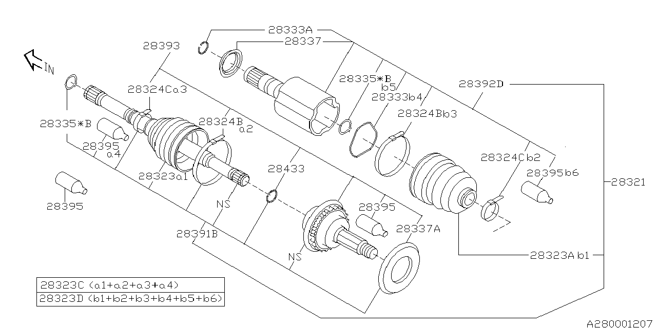 28393AE011 - Genuine Subaru JOINT UNIT FRONT OUT