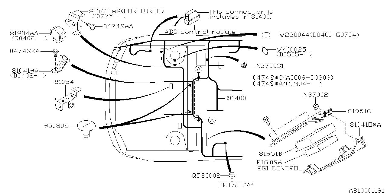 81403FE035 - Genuine Subaru HARNESS BULKHEAD U4