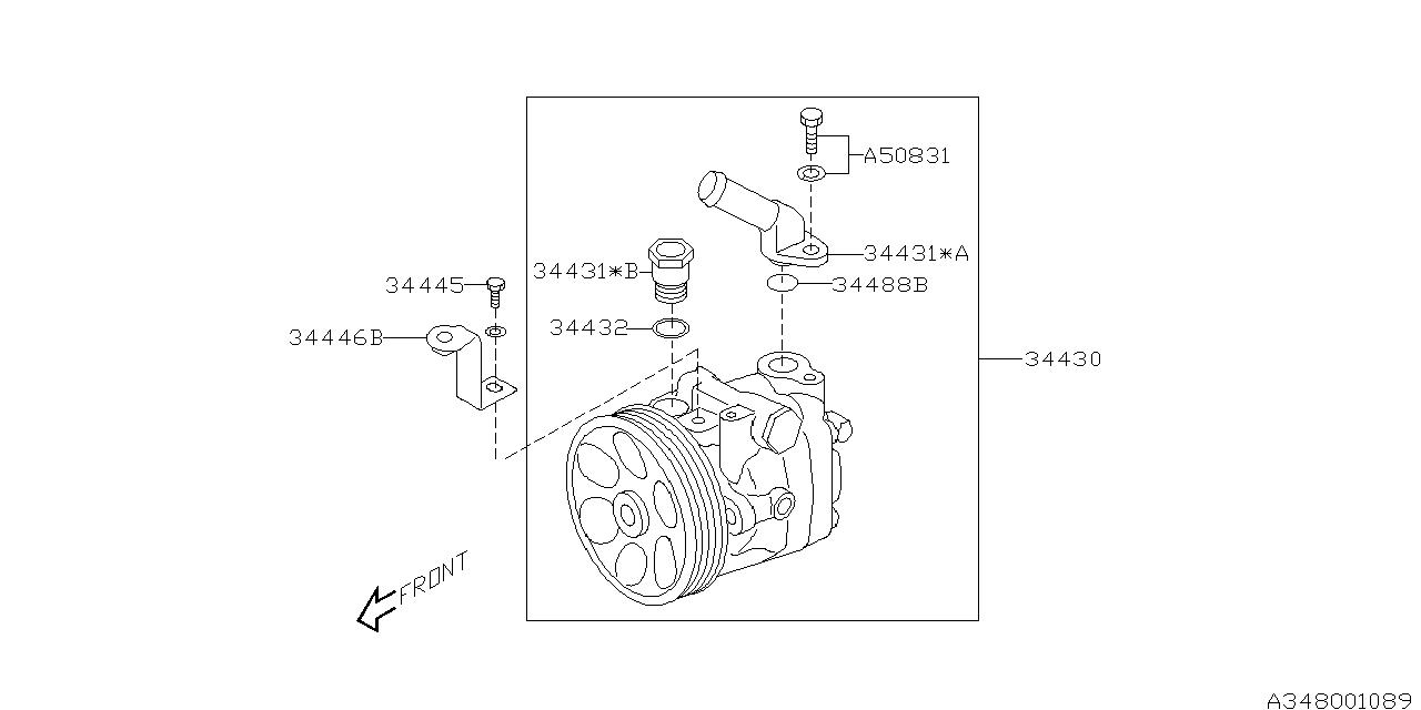 Genuine Subaru 34439FG000 O-Ring Connector