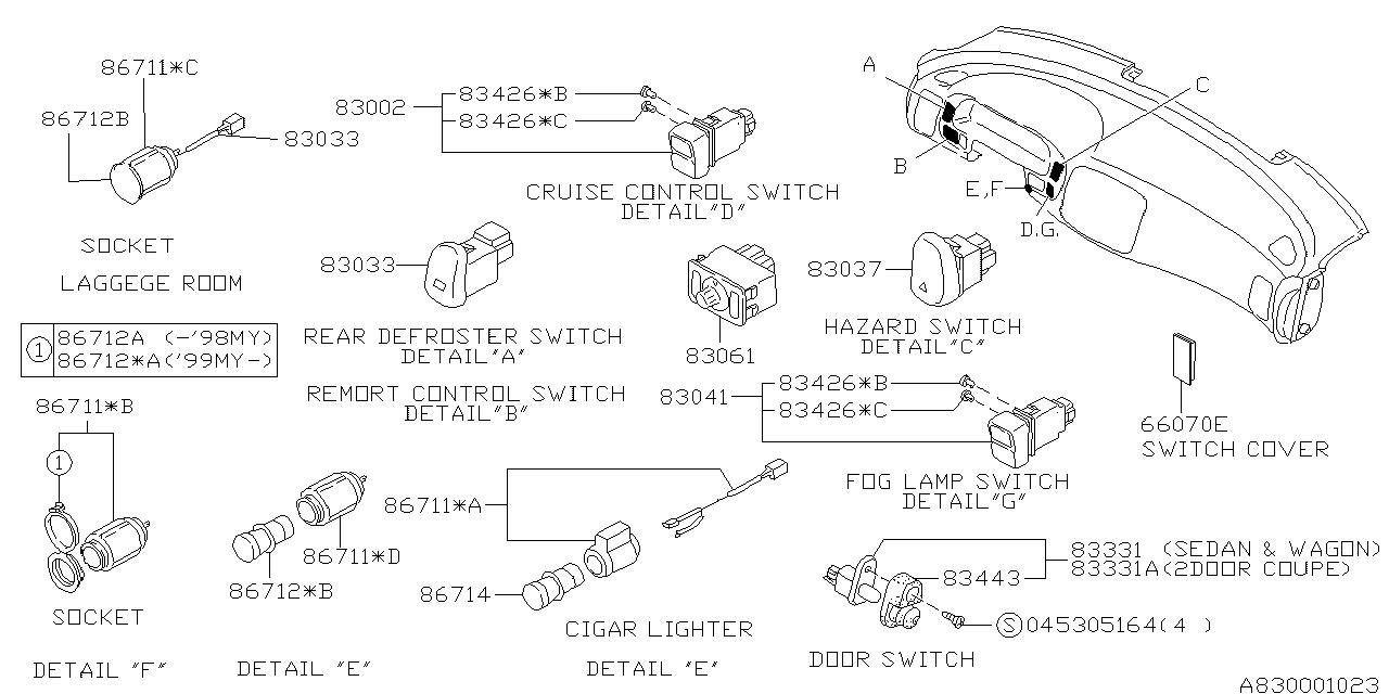 86712fa010 Genuine Subaru Cigarette Lighter Plug