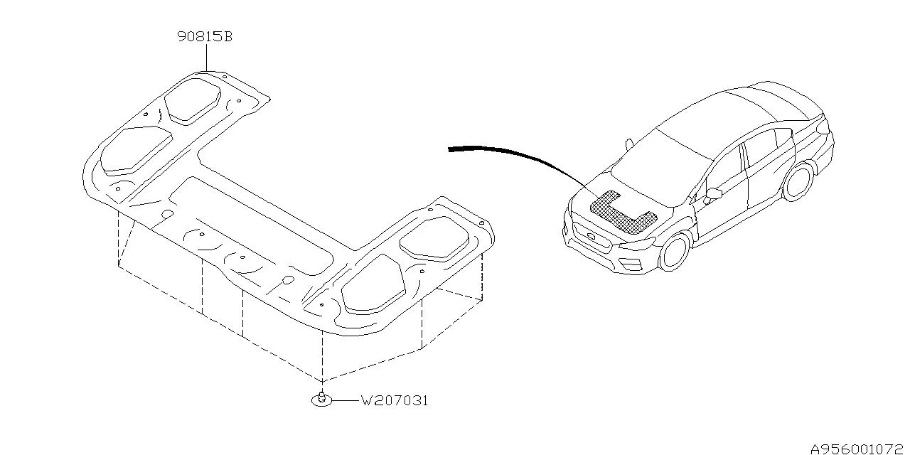 2015 Subaru WRX Hood Insulator