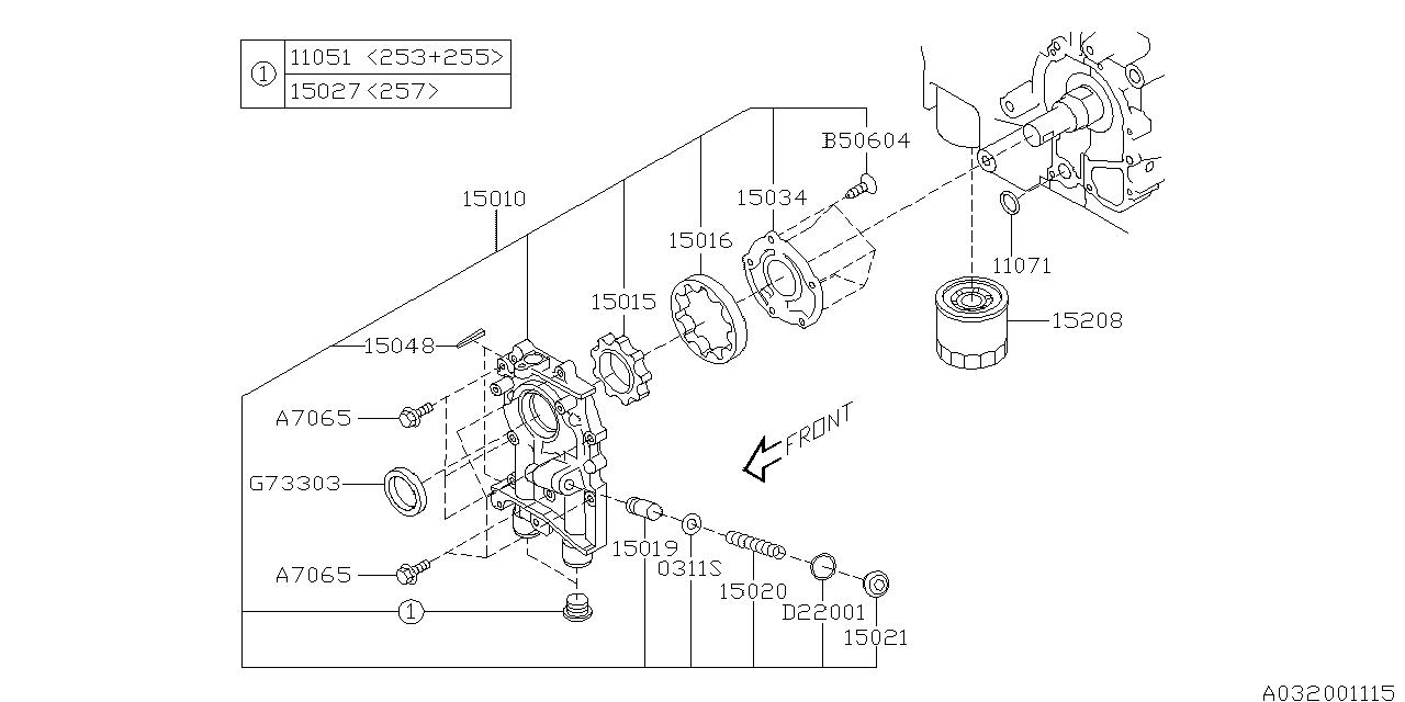 2011 subaru impreza oil pump  u0026 filter