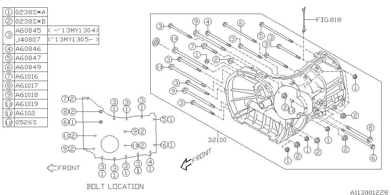 2011 subaru impreza manual transmission transmission case  the diagram