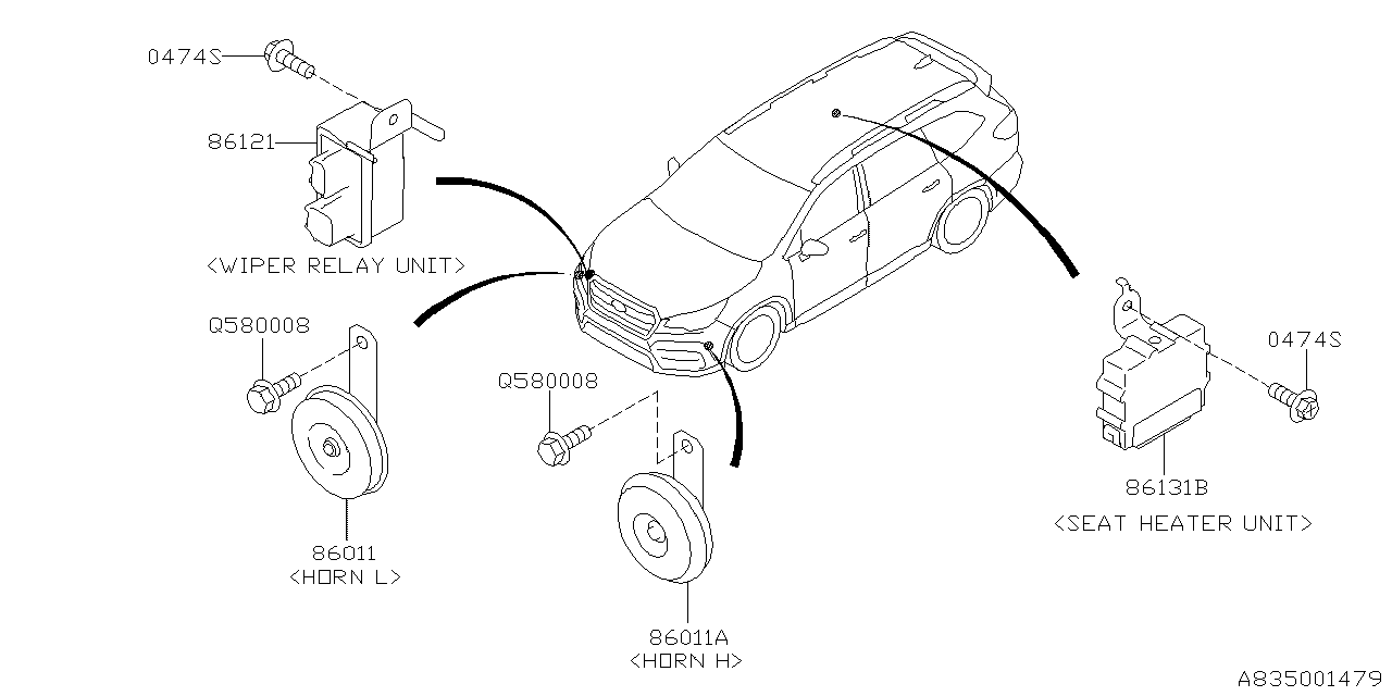 subaru horn wiring diagram 86012al01a genuine subaru horn assembly  86012al01a genuine subaru horn assembly