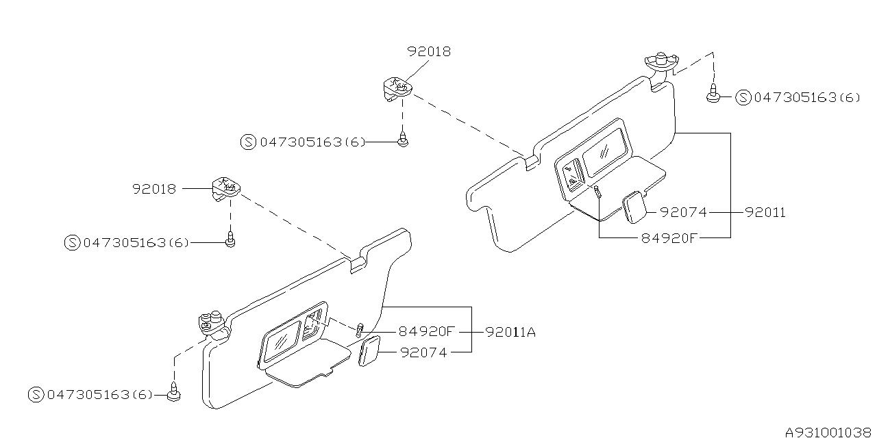 92010AC600MS - Genuine Subaru SUN VISOR ASSY