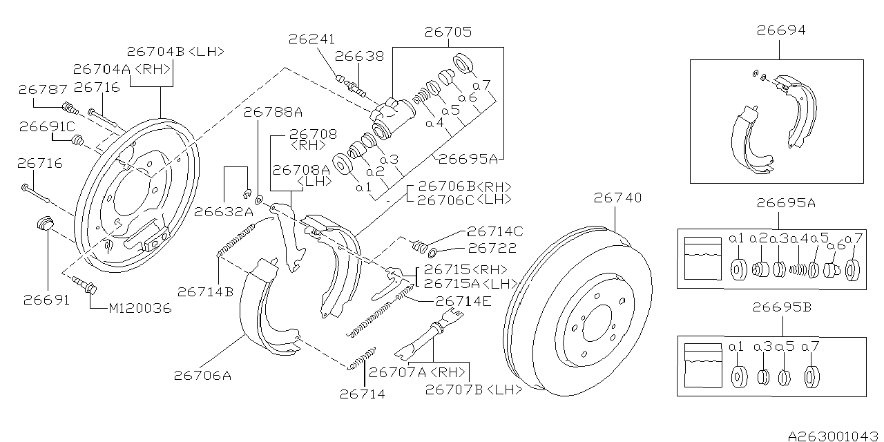 26295aa000 genuine subaru wheel cylinder repair kit 2006 Subaru Forester Engine Diagram 1995 subaru legacy rear brake