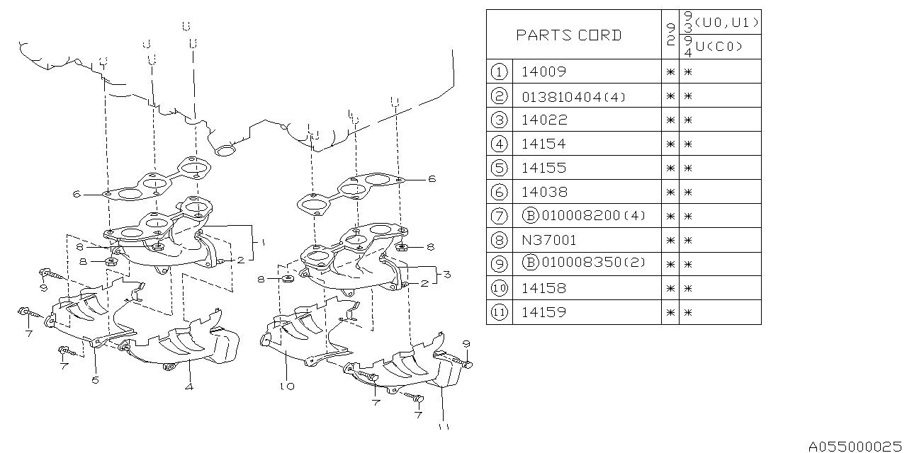 1993 subaru svx exhaust manifold